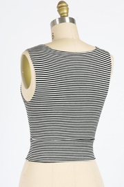 Final Touch Gondola Ride Black And Ivory Striped Double Layer Crop Top - Front full body