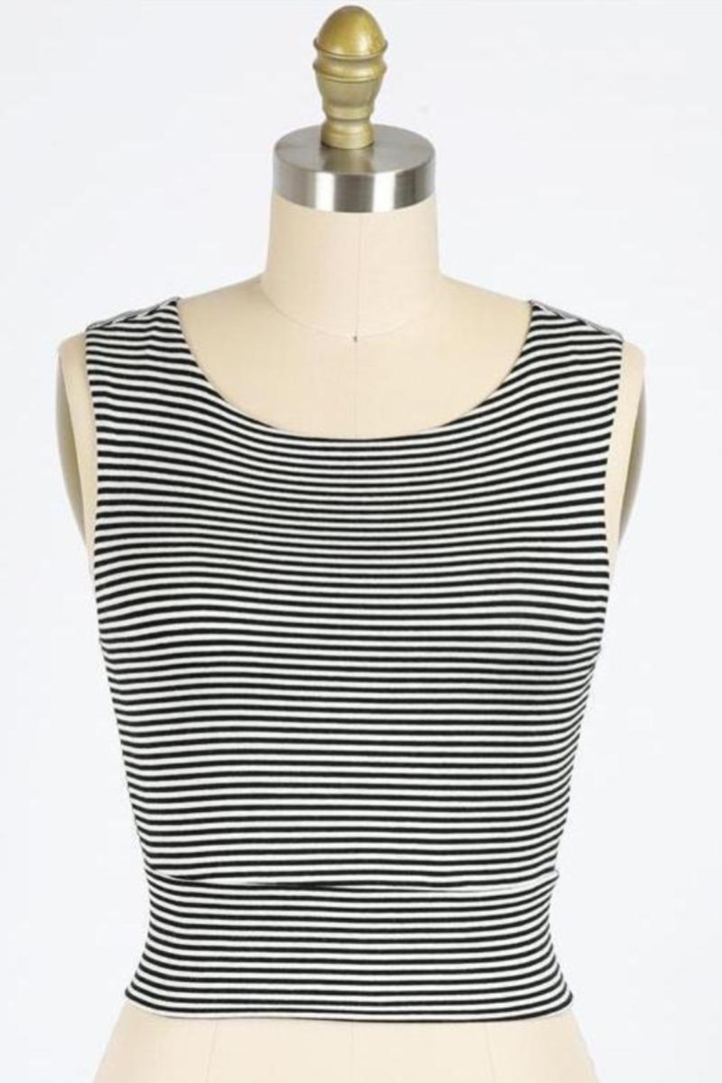 Final Touch Gondola Ride Black And Ivory Striped Double Layer Crop Top - Main Image