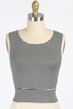 Final Touch Gondola Ride Black And Ivory Striped Double Layer Crop Top - Product List Image