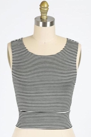 Final Touch Gondola Ride Black And Ivory Striped Double Layer Crop Top - Front cropped