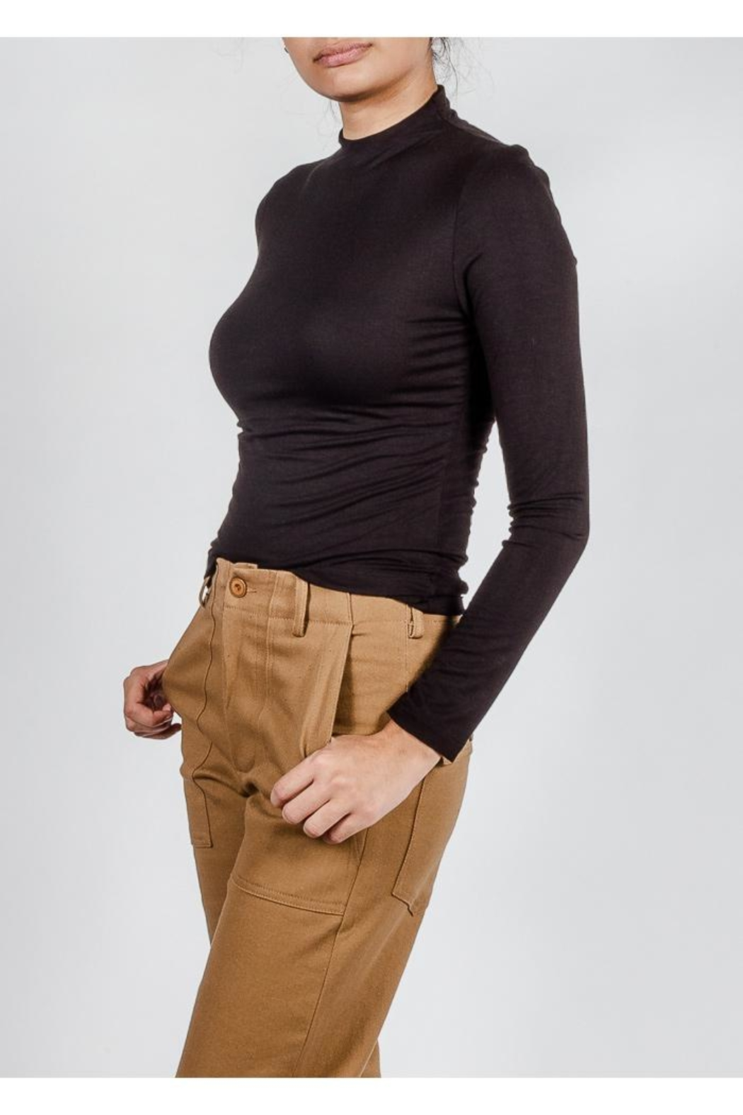 Final Touch High-Neck Double-Layer Top - Side Cropped Image