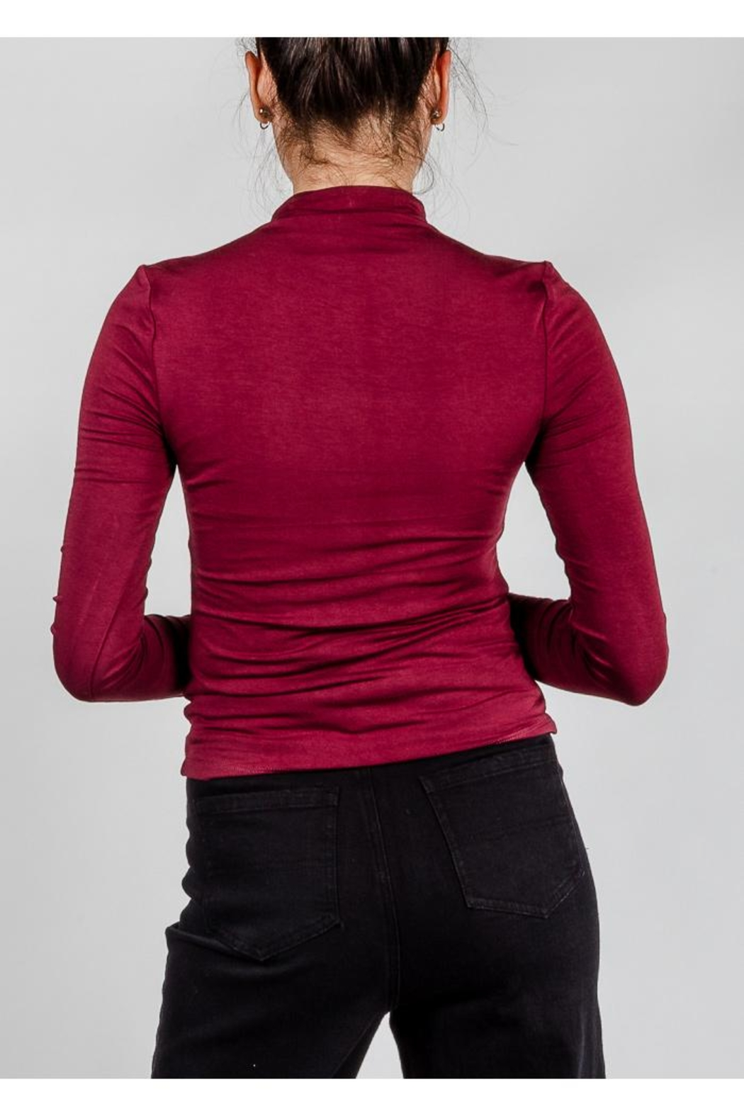 Final Touch High-Neck Double-Layer Top - Back Cropped Image