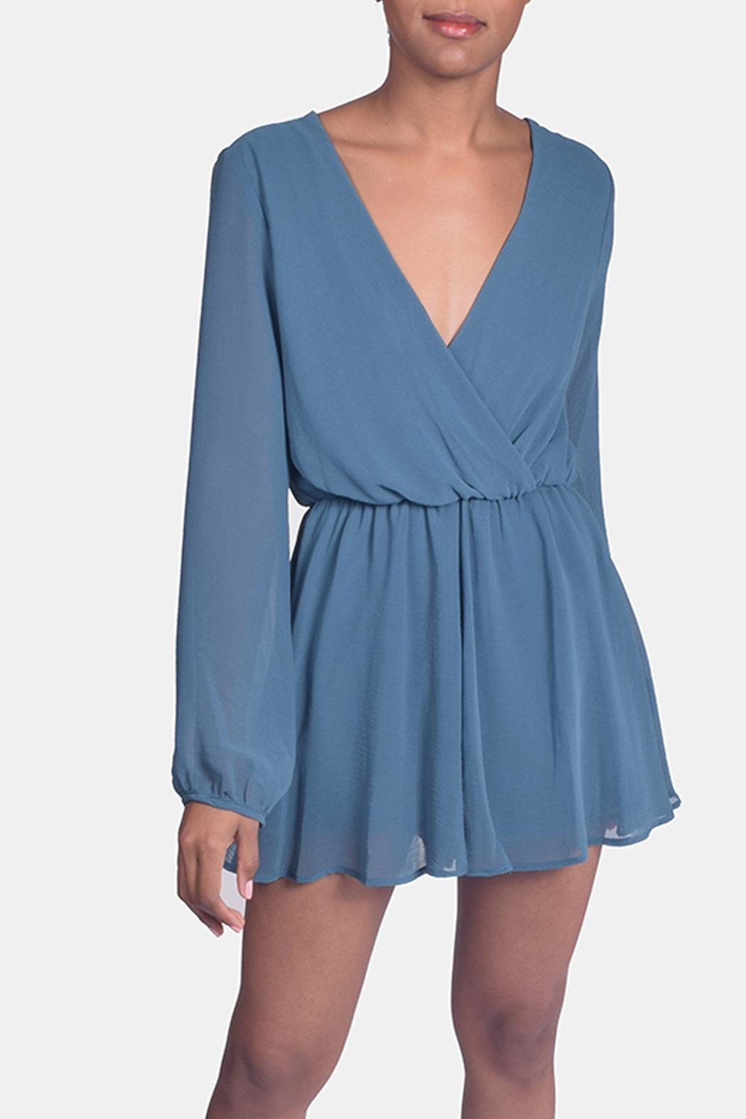 Final Touch Jade Chiffon Romper - Front Cropped Image
