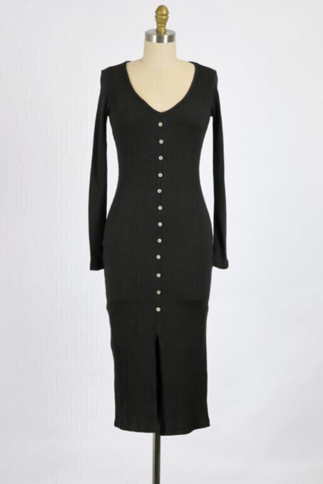 Final Touch Lana Long Sleeve Body Front Dress In Black - Main Image
