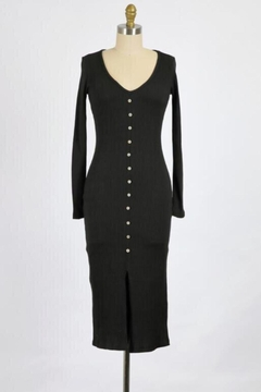 Final Touch Lana Long Sleeve Body Front Dress In Black - Product List Image