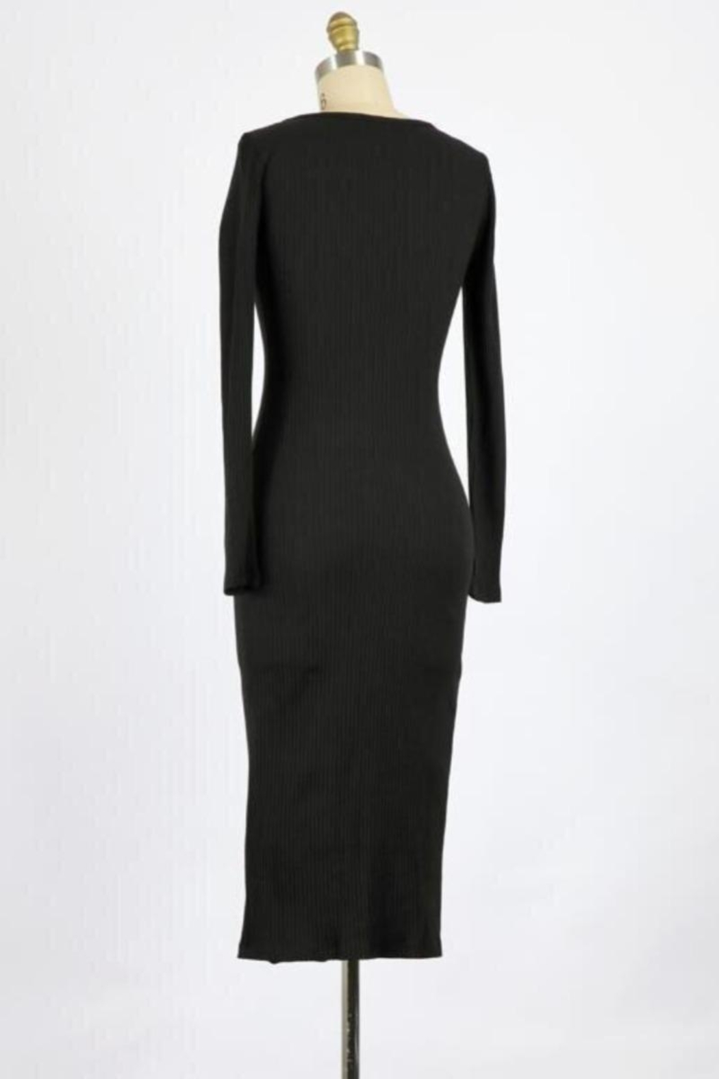 Final Touch Lana Long Sleeve Body Front Dress In Black - Front Full Image