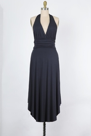 Final Touch Marilyn Soft Stretch Jersey Halter Dress In Graphite - Product Mini Image