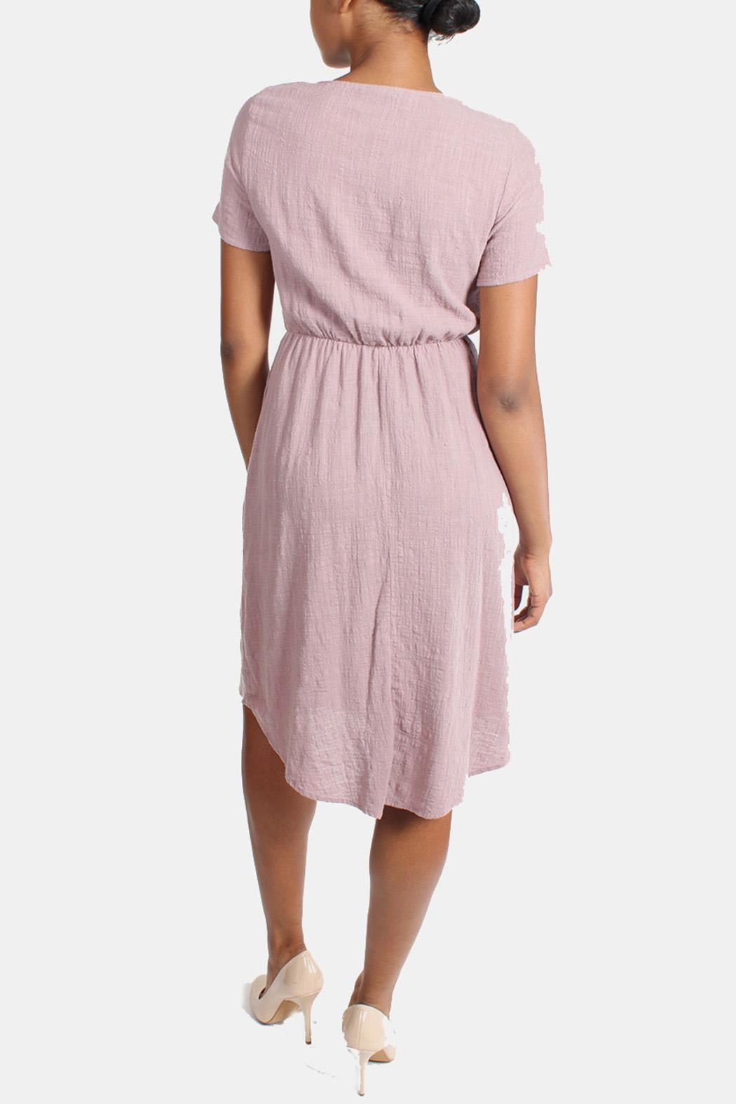 Final Touch Mauve Linen Dress - Side Cropped Image