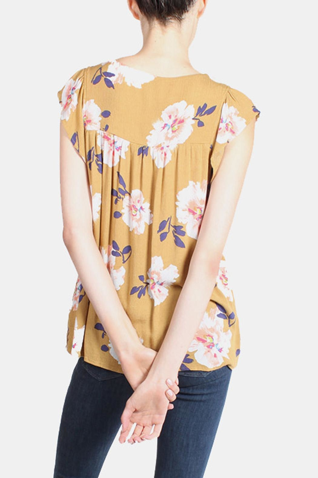 Final Touch Mustard Floral Blouse - Back Cropped Image