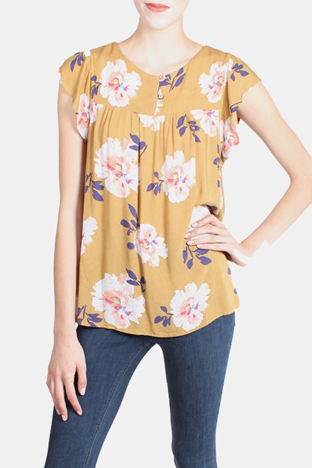 Final Touch Mustard Floral Blouse - Front Full Image