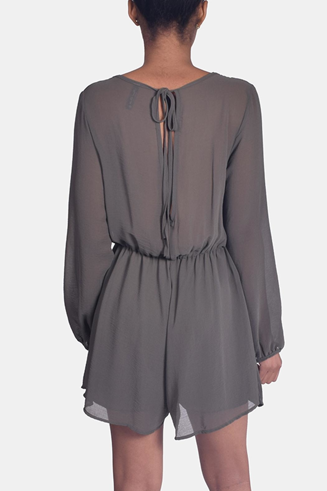 Final Touch Olive Chiffon Romper - Side Cropped Image