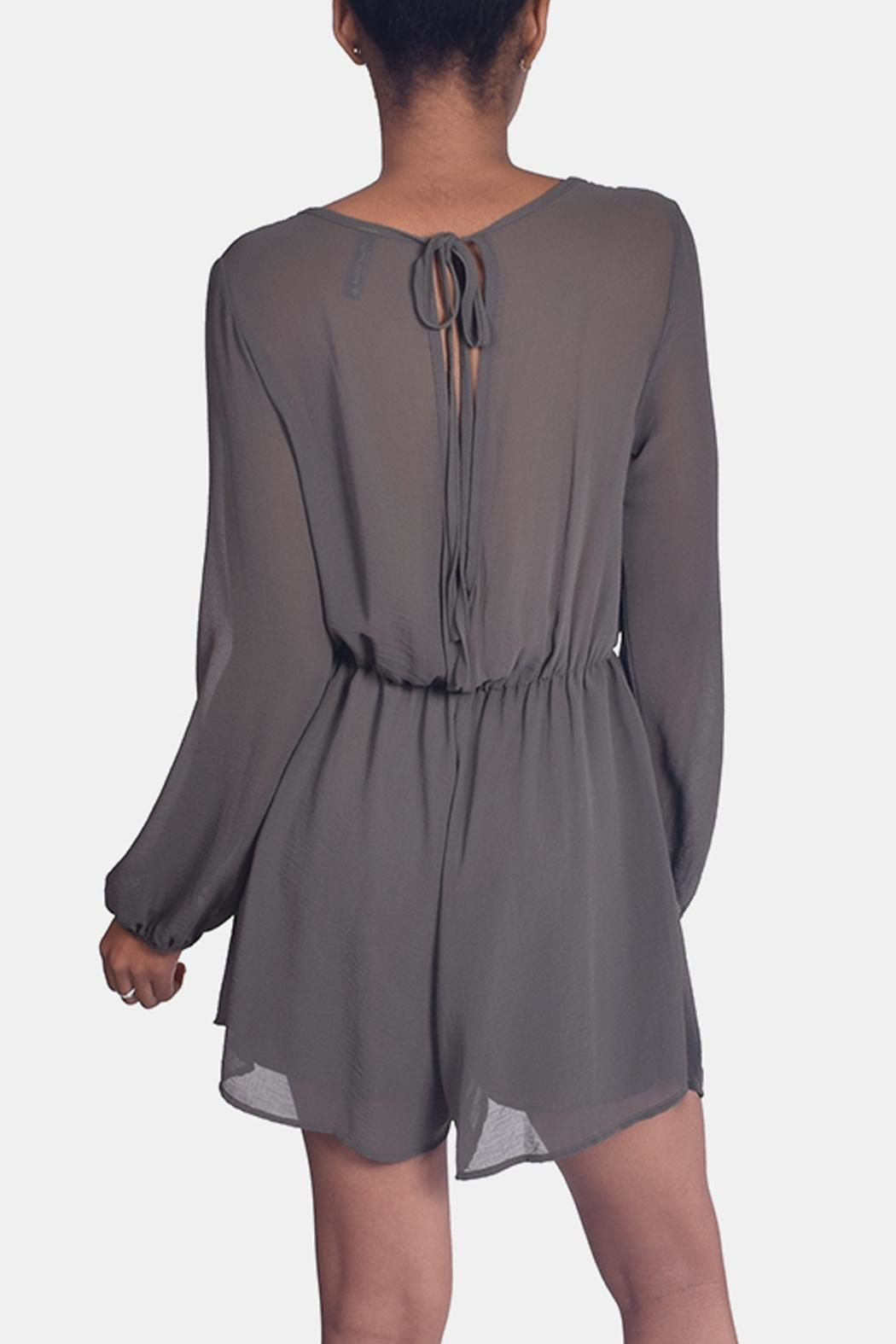 Final Touch Olive Chiffon Romper - Back Cropped Image