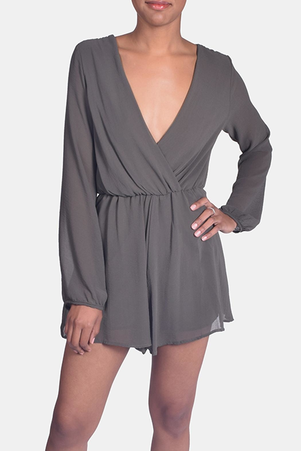 Final Touch Olive Chiffon Romper - Main Image