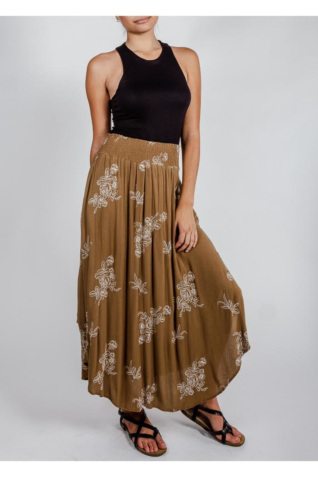 Final Touch Olive Floral Midi-Skirt - Back Cropped Image