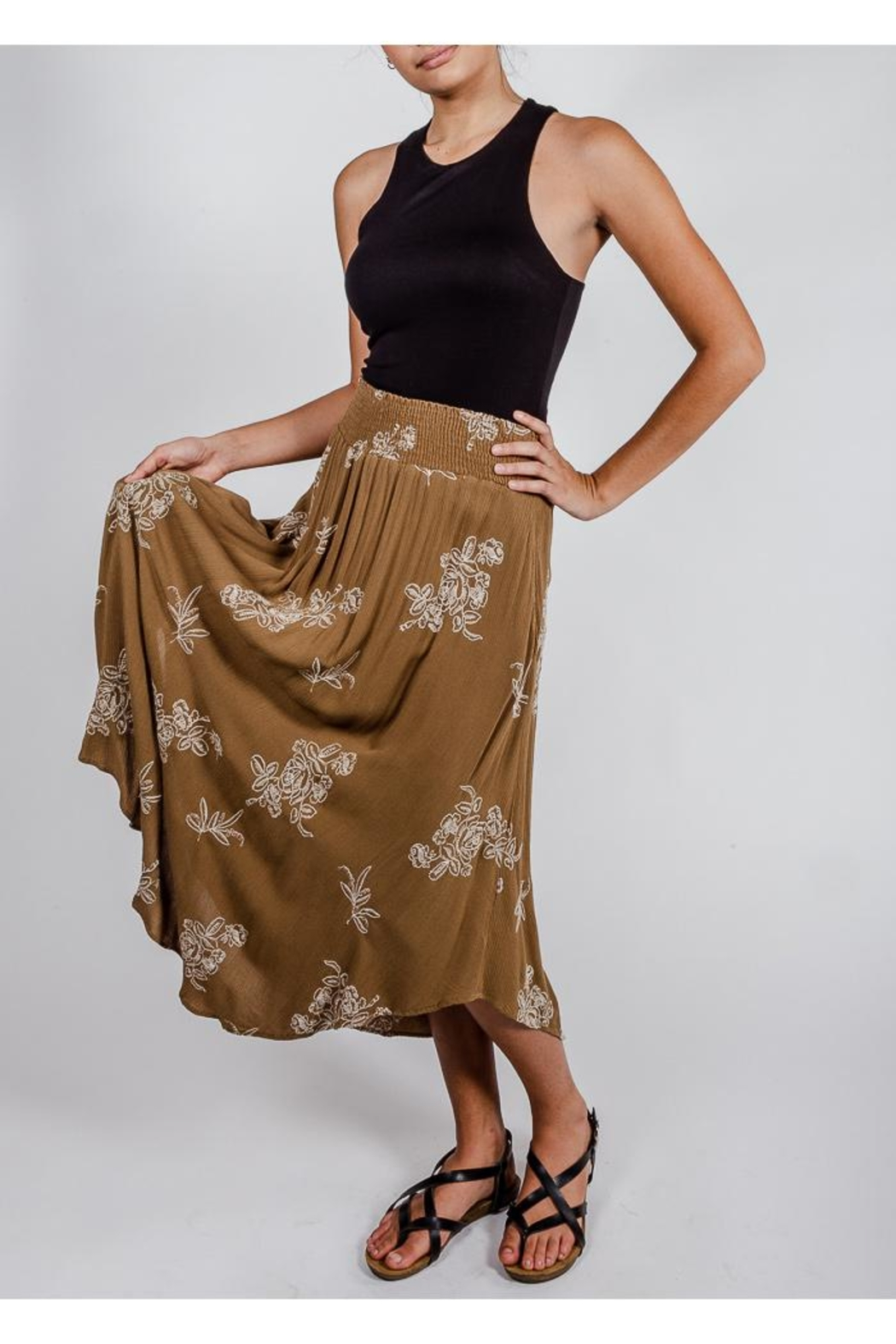 Final Touch Olive Floral Midi-Skirt - Front Full Image