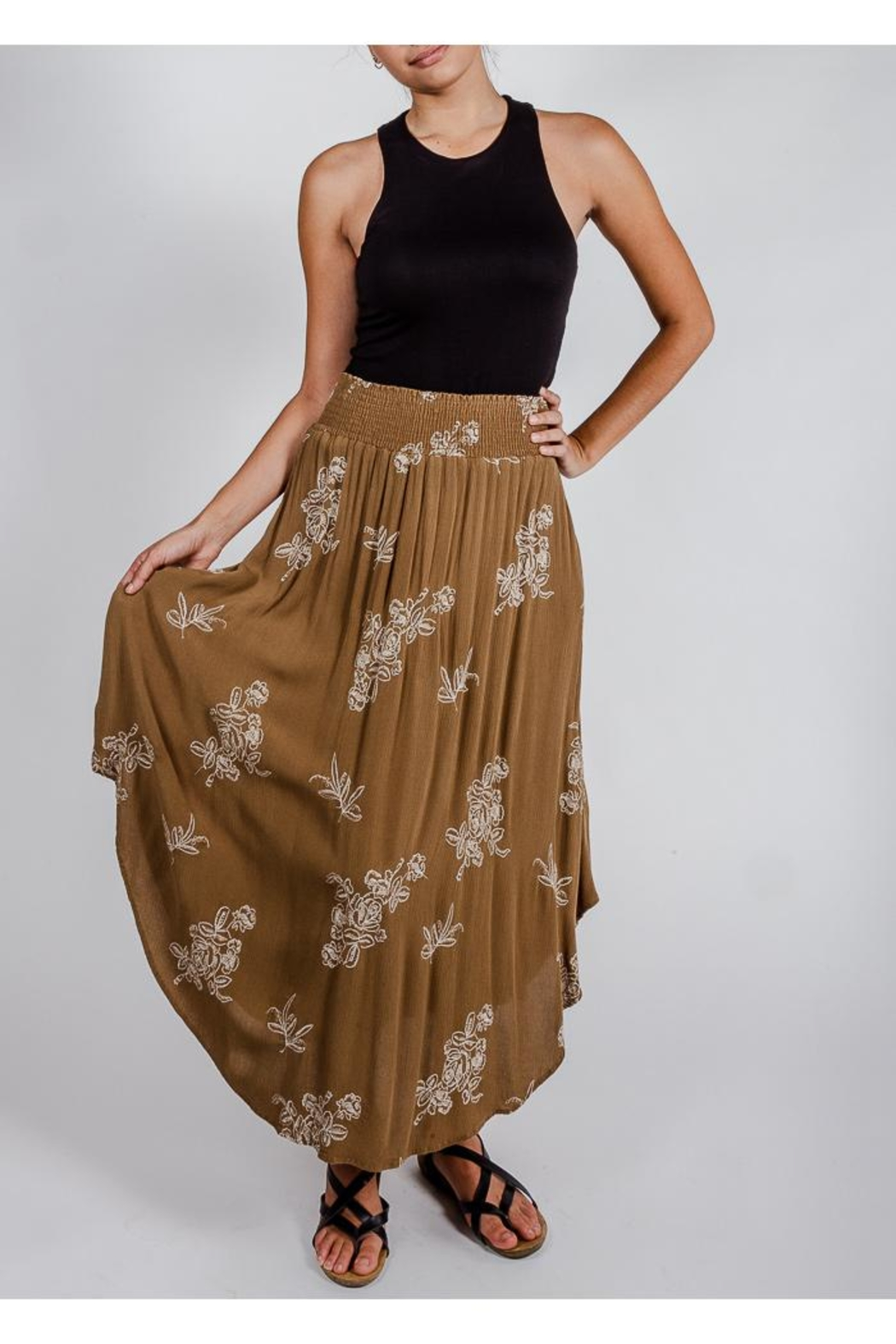 Final Touch Olive Floral Midi-Skirt - Main Image