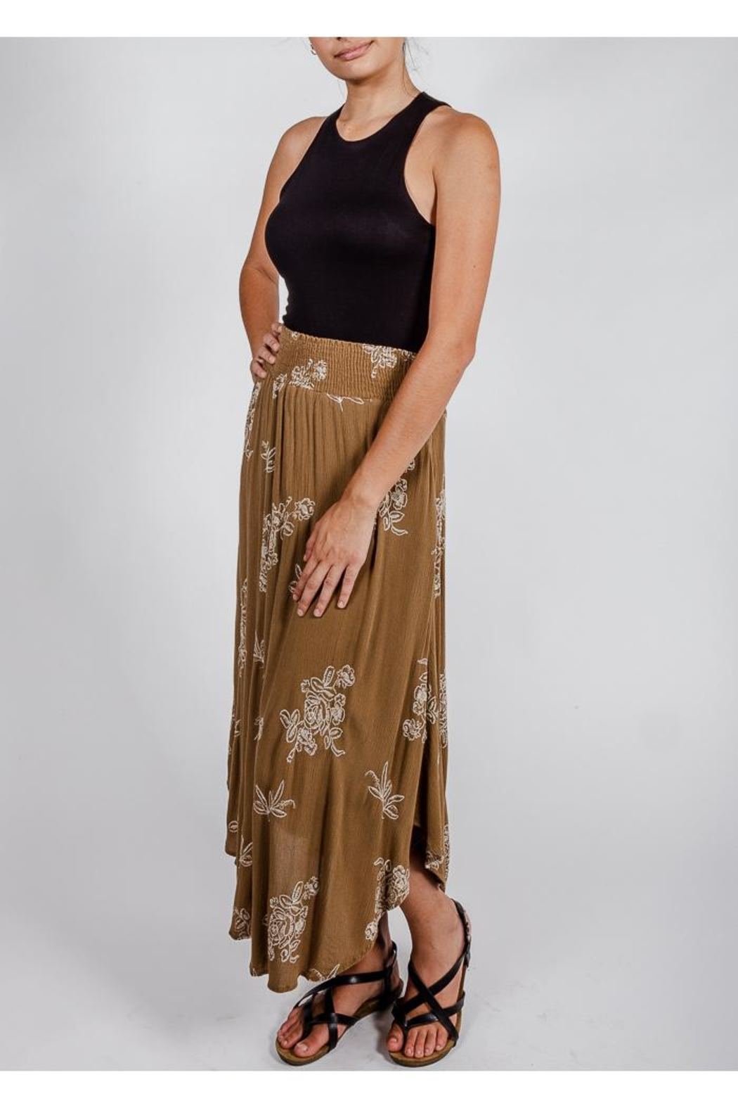 Final Touch Olive Floral Midi-Skirt - Side Cropped Image
