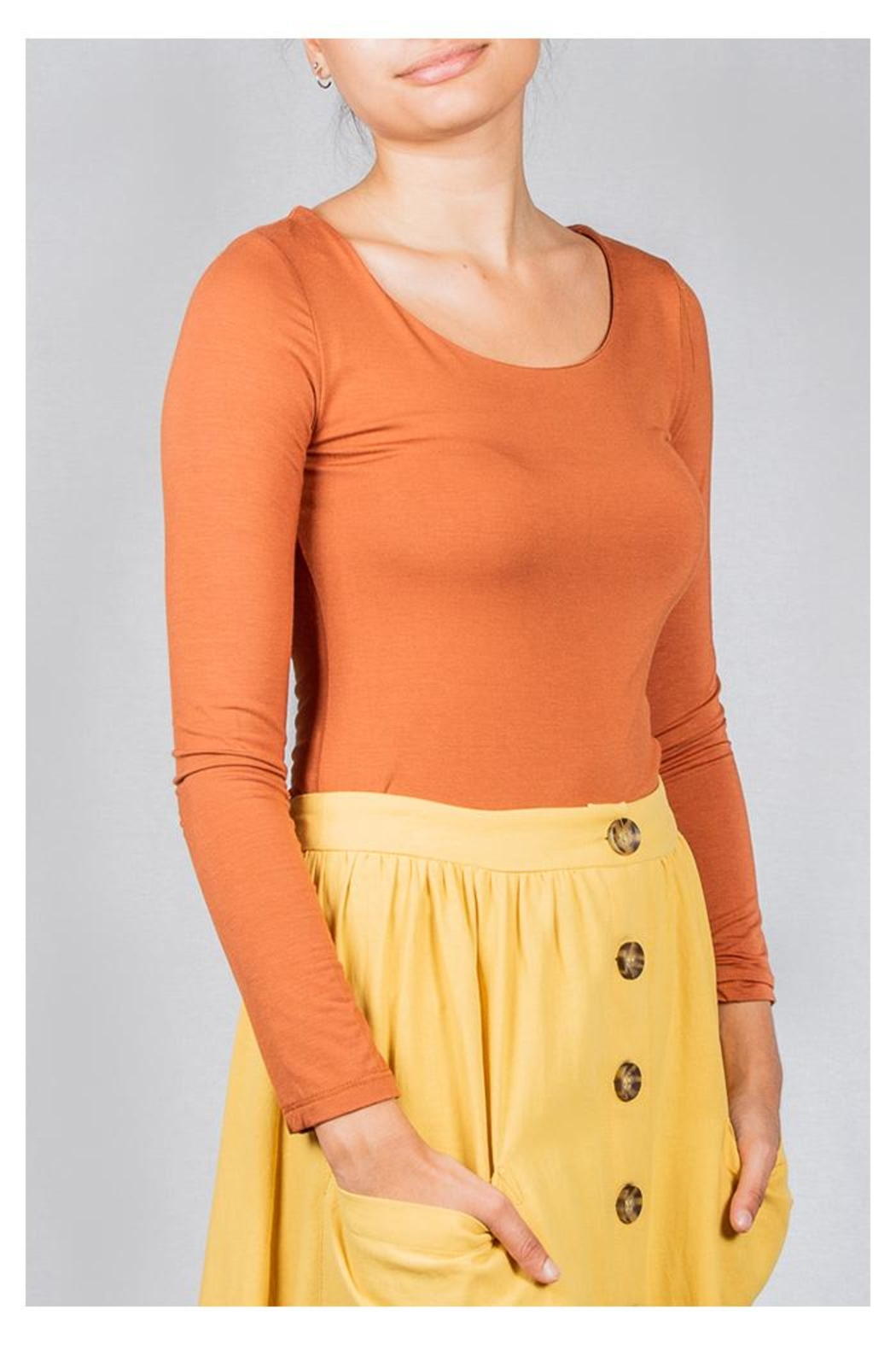 Final Touch Scoop-Neck Double-Layer Top - Front Full Image