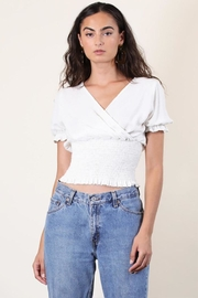 Final Touch Smocked Wrap Top - Front cropped