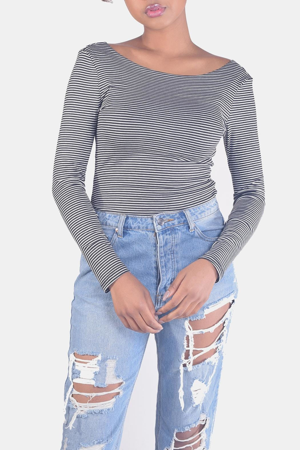 Final Touch Striped Long-Sleeve Crop-Top - Front Full Image