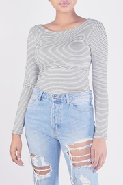 Final Touch Striped Long-Sleeve Crop-Top - Product Mini Image