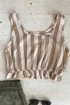 Final Touch Stripped Crop Top - Product List Image