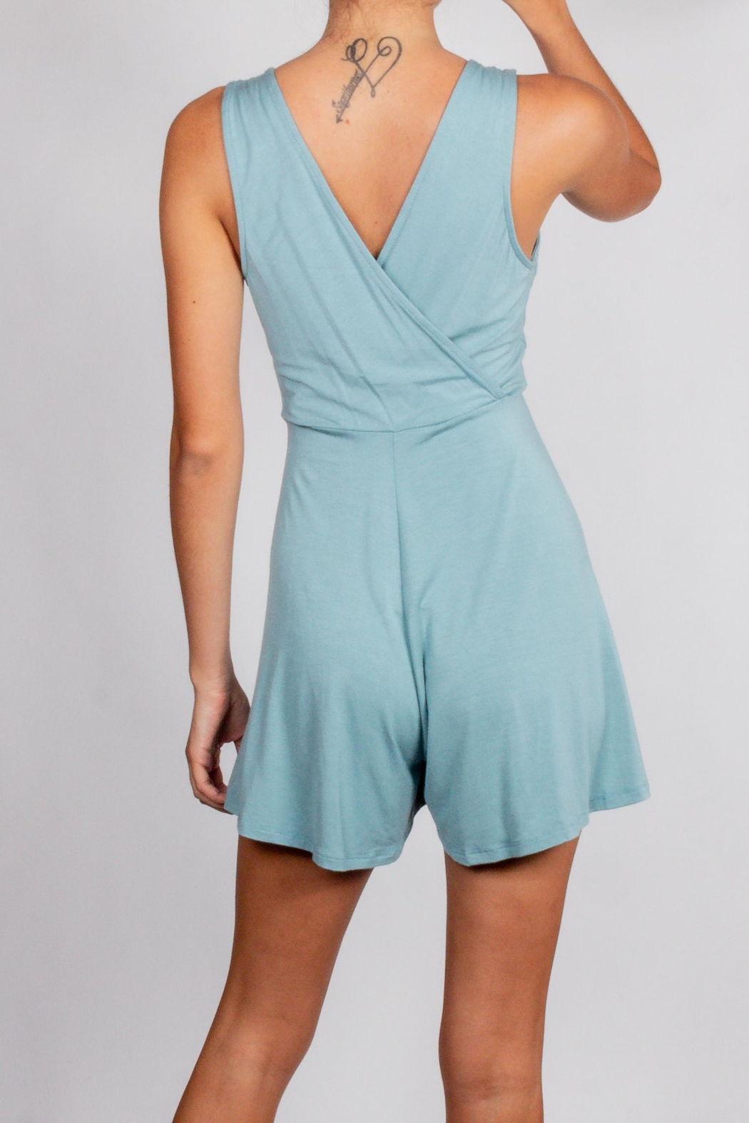 Final Touch Teal Wrap Romper - Side Cropped Image