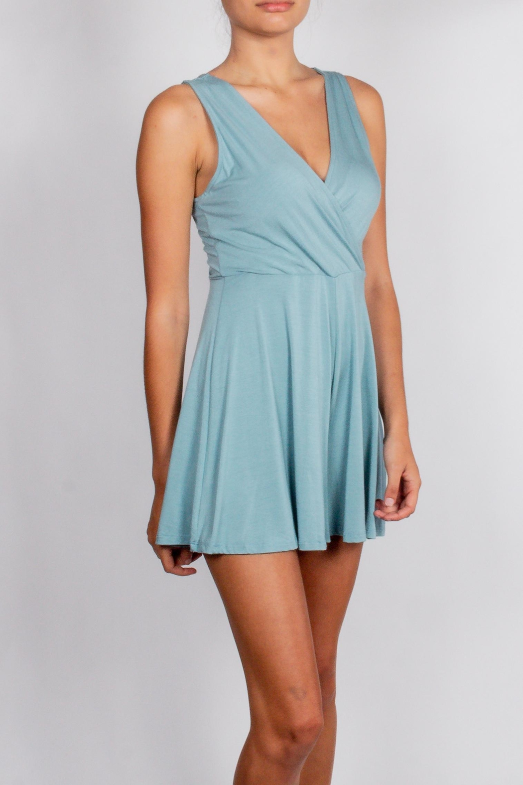 Final Touch Teal Wrap Romper - Front Full Image