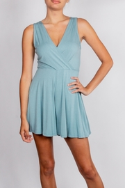 Final Touch Teal Wrap Romper - Front cropped