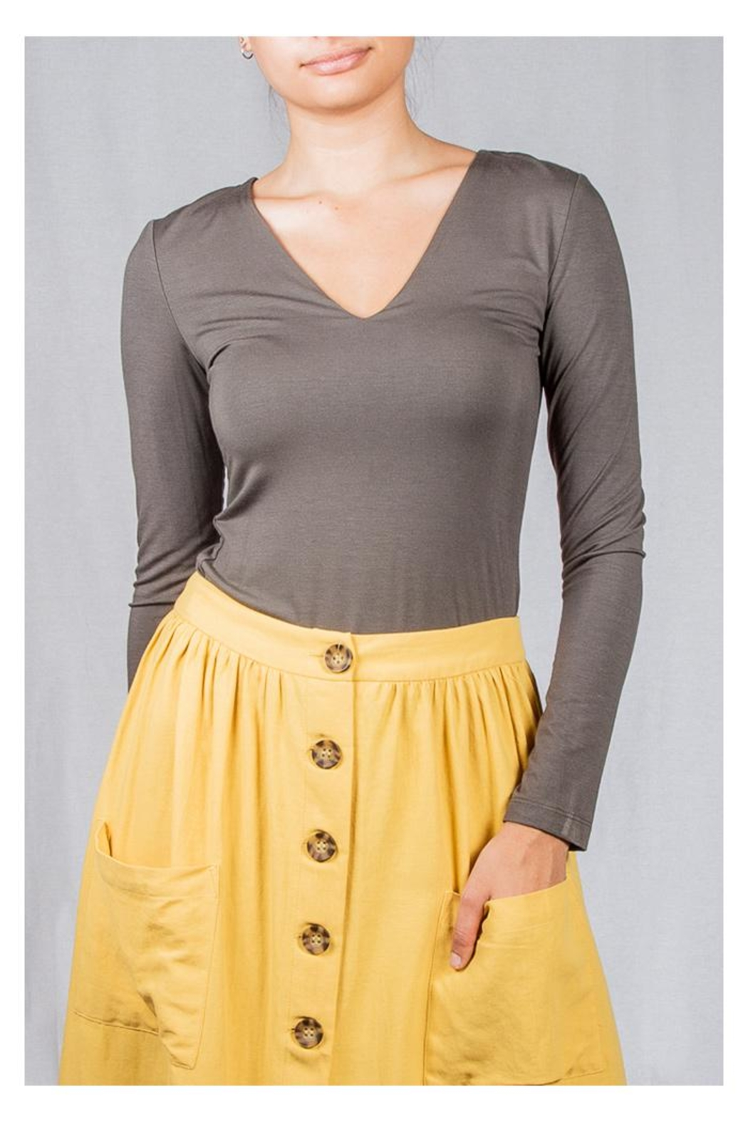 Final Touch V-Neck Double-Layer Top - Main Image