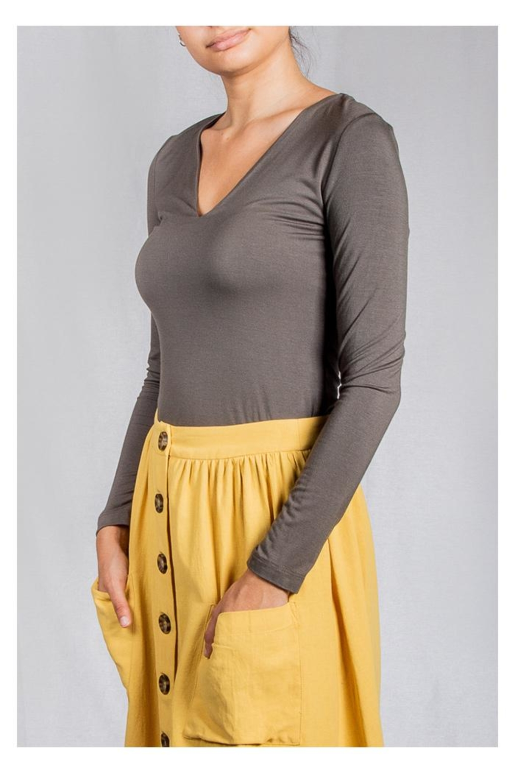 Final Touch V-Neck Double-Layer Top - Side Cropped Image