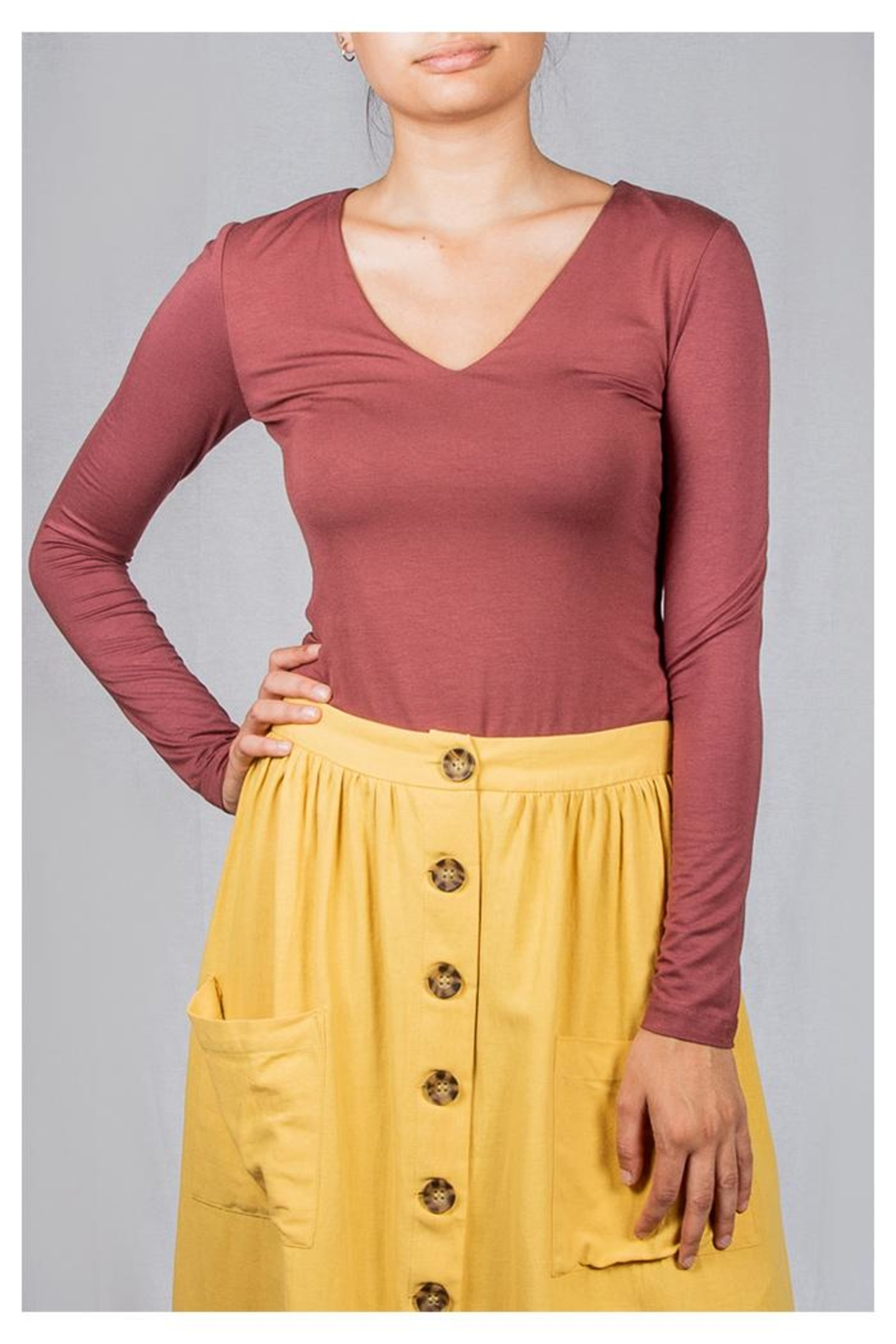 Final Touch V-Neck Double-Layer Top - Front Cropped Image