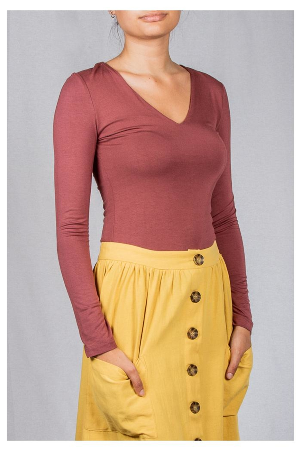Final Touch V-Neck Double-Layer Top - Front Full Image