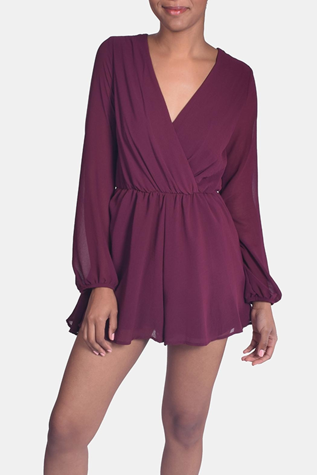 Final Touch Wine Chiffon Romper - Main Image