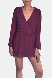 Final Touch Wine Chiffon Romper - Front full body