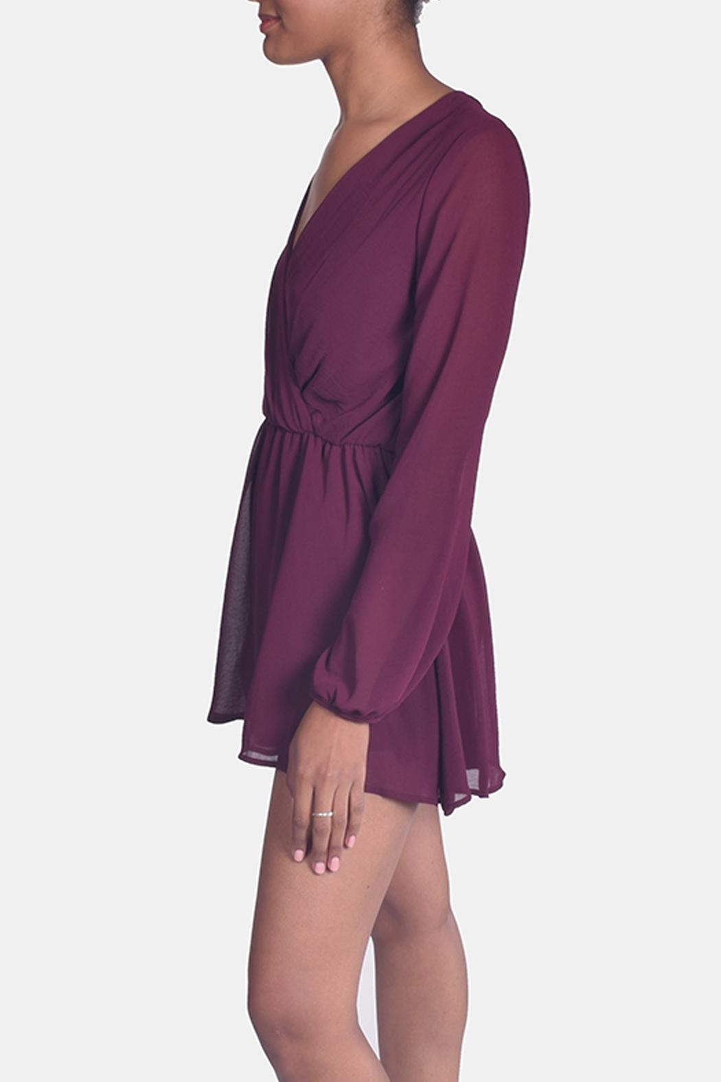 Final Touch Wine Chiffon Romper - Side Cropped Image