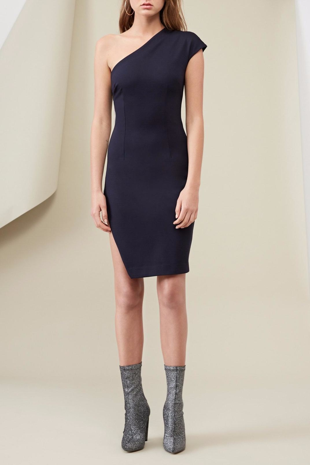 FINDERS Diagonal Dress Navy - Front Cropped Image