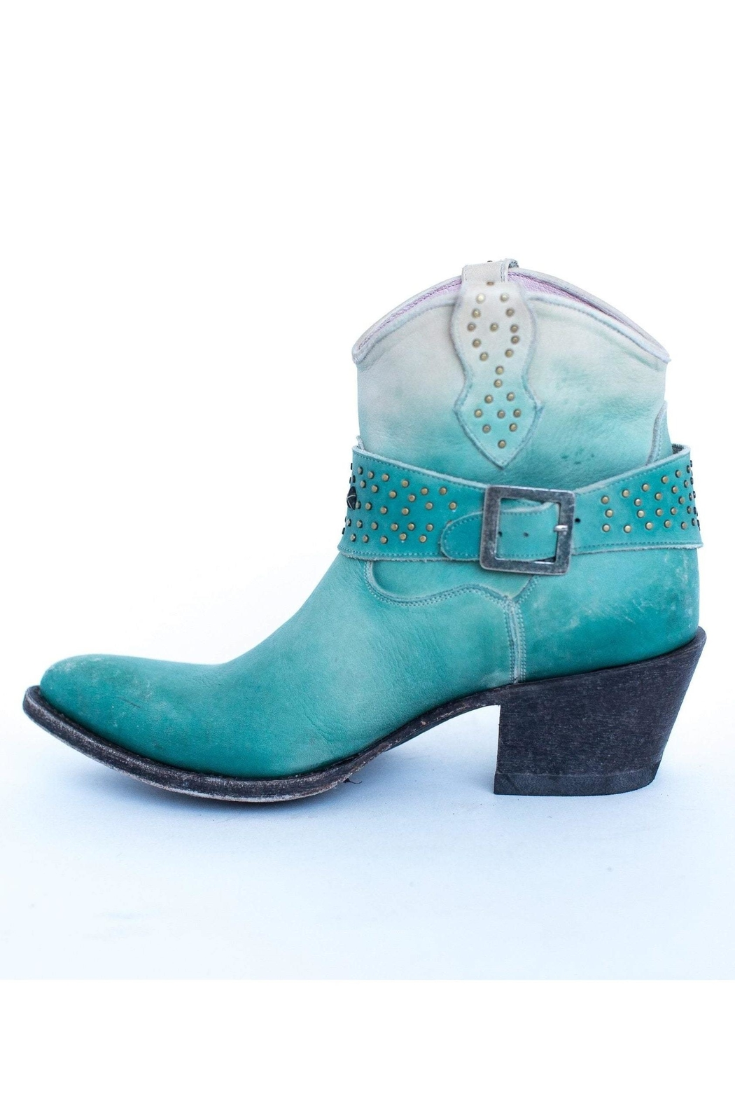 Miss Macie Boots Fine-N-Dandy Turquoise Bootie - Side Cropped Image