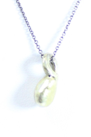 The Birds Nest FINE SILVER NECKLACE W/ 22K GOLD PENDANT - 8 INCH CHAIN - Front full body