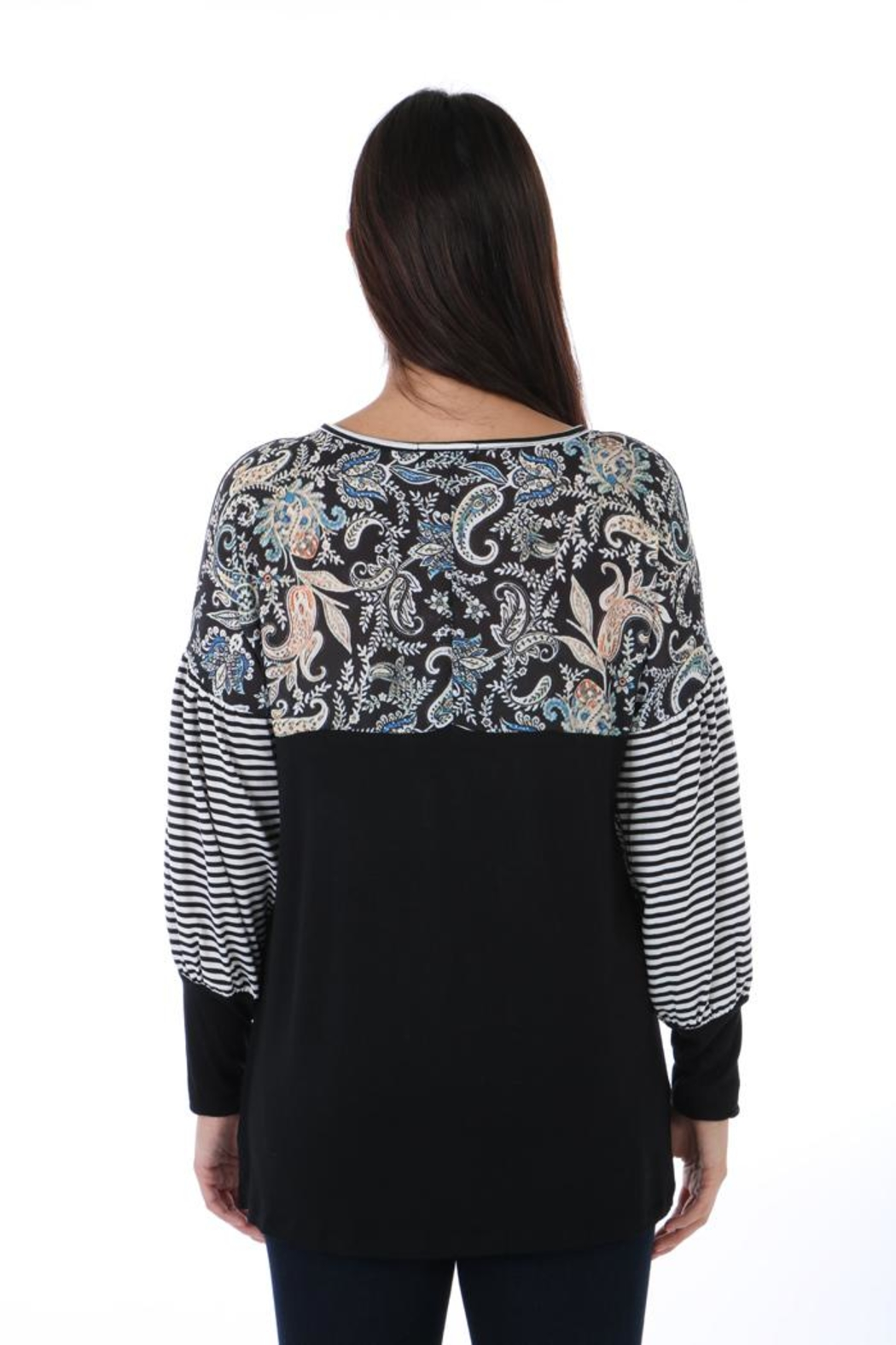 Fine Line Imports Mixed Print Top - Side Cropped Image