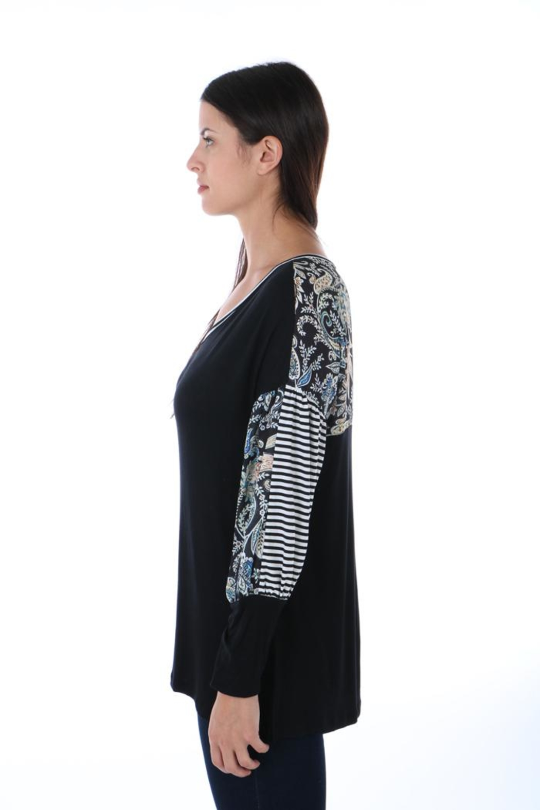 Fine Line Imports Mixed Print Top - Front Full Image