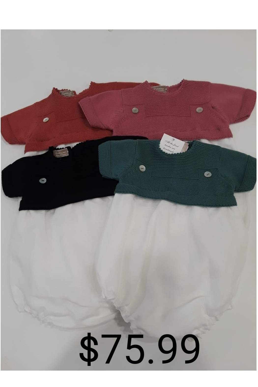 CARMINA FINEST KNIT BABY BUBBLE WITH KNIT COLLAR - Front Cropped Image