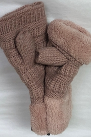 Bedford Basket Fingerless Sherpa Mittens - Front cropped
