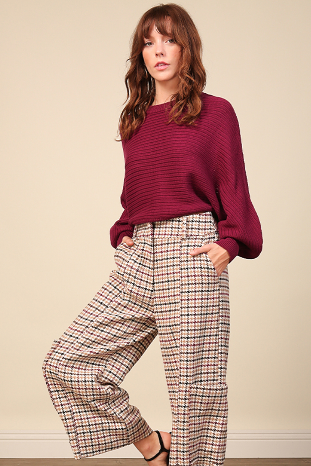 Line & Dot Fiona Plum Sweater - Main Image