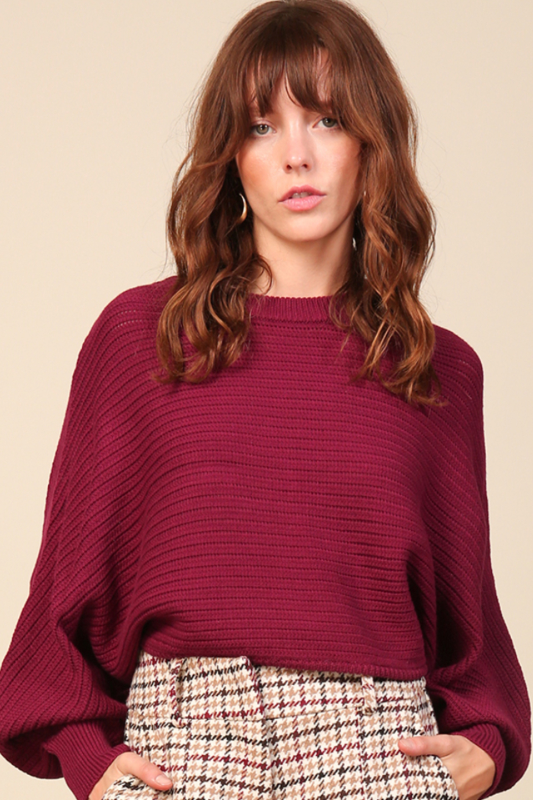 Line & Dot Fiona Plum Sweater - Front Full Image