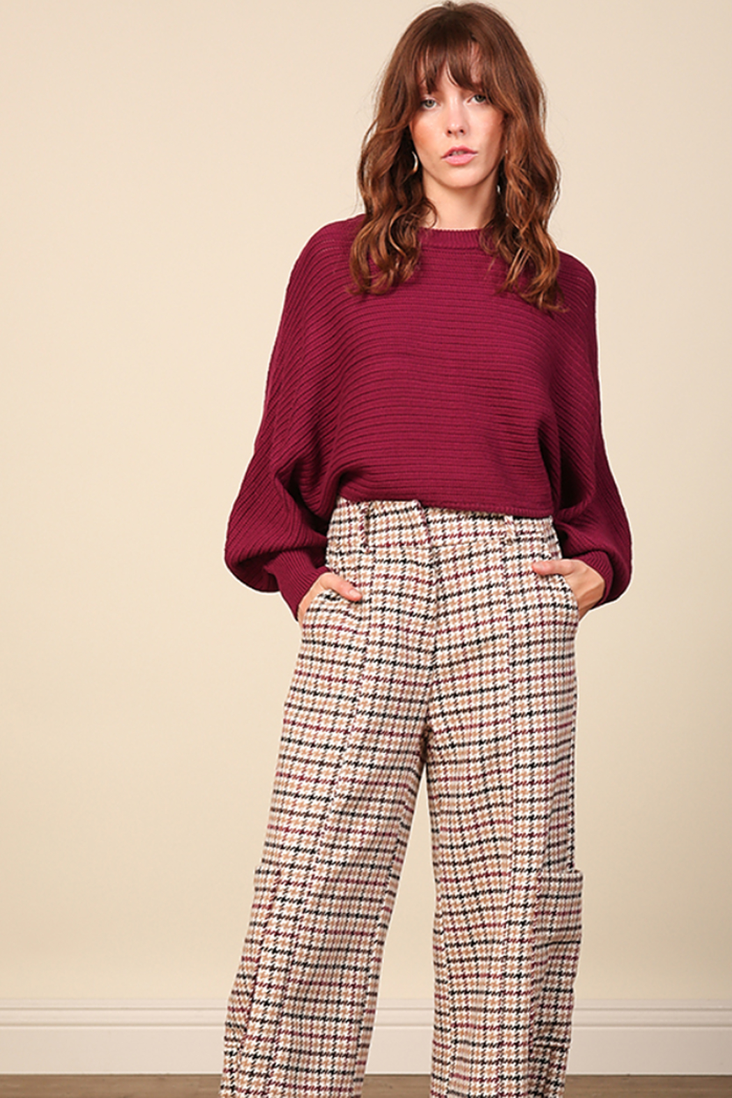 Line & Dot Fiona Plum Sweater - Side Cropped Image