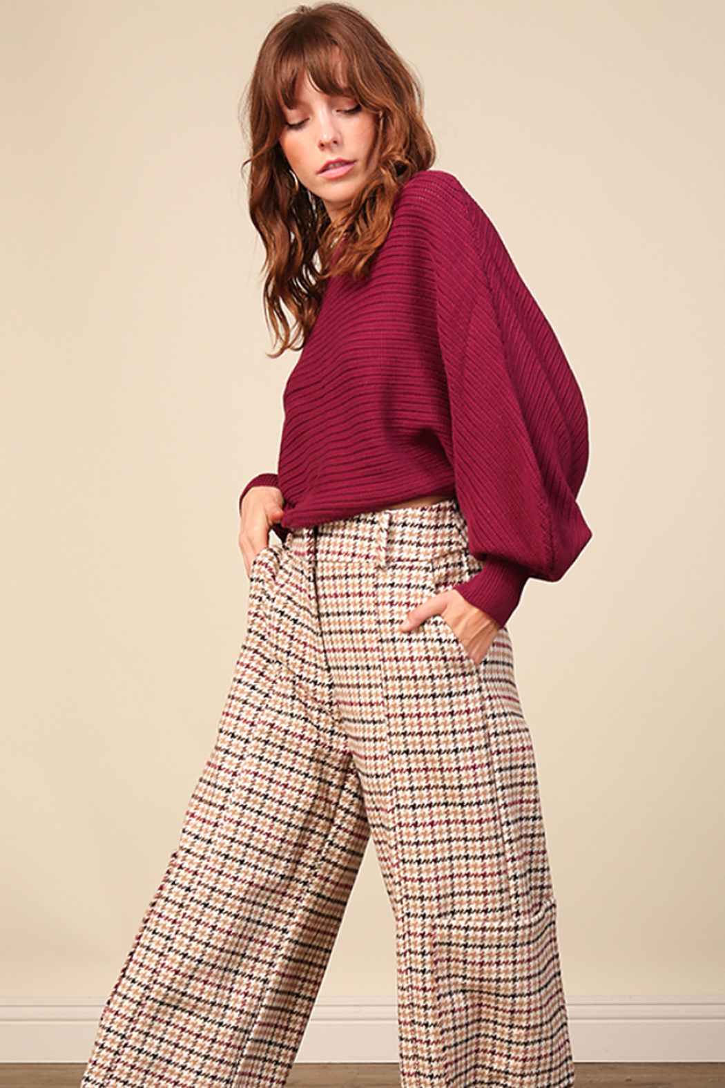 Line & Dot Fiona Plum Sweater - Back Cropped Image