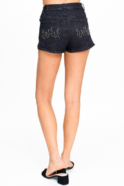 MONTREZ FIRE DETAIL EMBROIDERED JEAN SHORTS - Product Mini Image