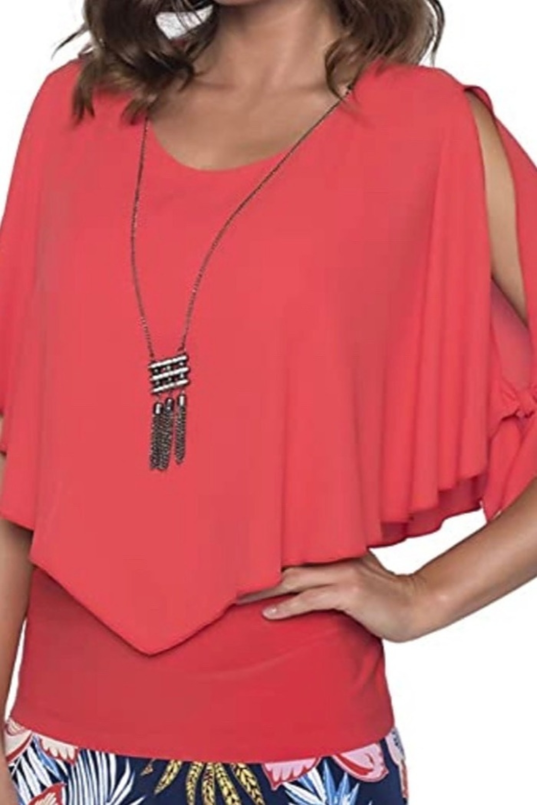 Frank Lyman Fire red layered blouse with fitted bodice - Main Image