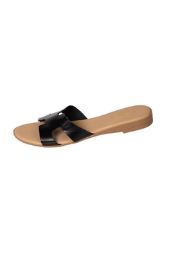 Firenze Black Leather H-Slide - Product List Image